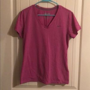 Pink V-Neck Nike Dri-Fit Workout Shirt